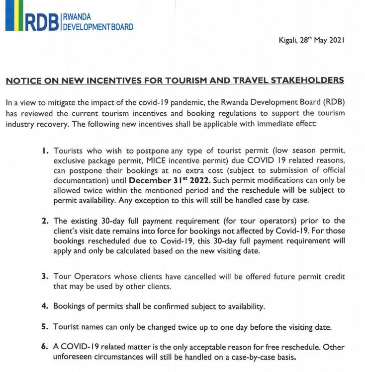 New incentives to Rwanda